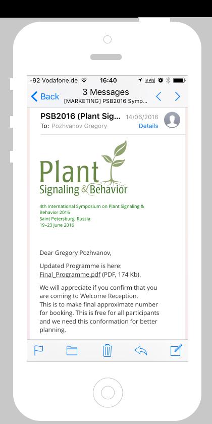 Почта от организационного комитета PSB на iPhone